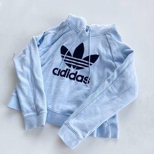 Baby Blue Adidas Cropped Hoodie